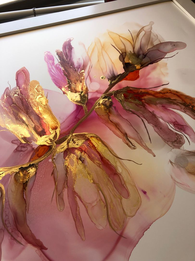 Alcohol ink flowers painting  #alcoholinkcrafts