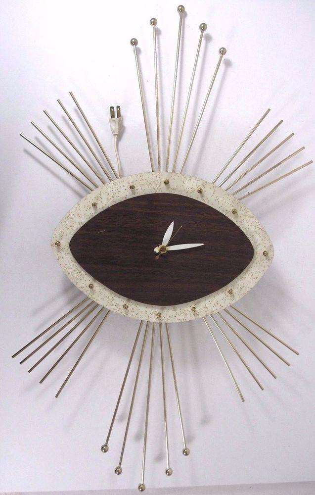 Vintage 1950s 1960s Mid Century Sunburst Starburst Electrical Wall Clock Sunburst Clock Clock Sunburst