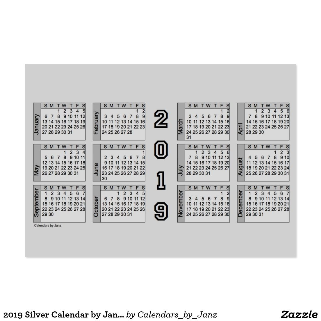 2019 Silver Calendar by Janz Chubby Business Card   Zazzle Calendars ...