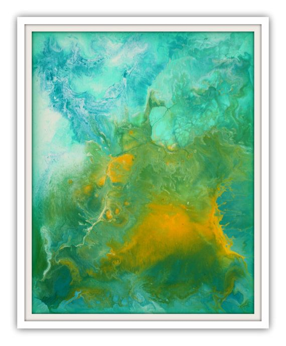 Teal and Yellow Wall Art Painting on Wood by LizMosLoft on Etsy, $75.00 (With images)   Wall art ...