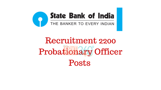 Recruitment 2200 Probationary Officer Posts at State Bank of India