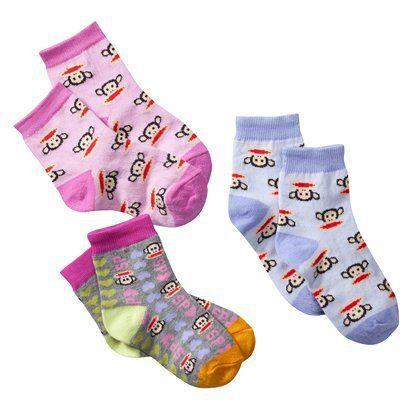 Infant Toddler Girls' Paul Frank® for Target® Multicolor 3 pk Crew Socks