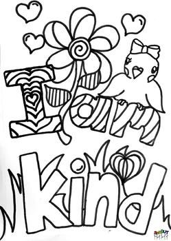 Kindness Affirmation Coloring Page | Coloring pages, Space ...