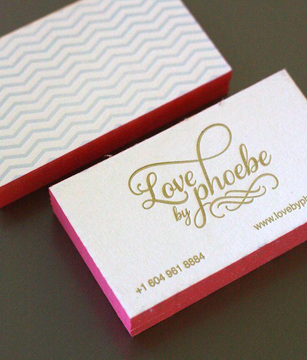 Love By Phoebe  Letterpress Business Cards  JennS Branding