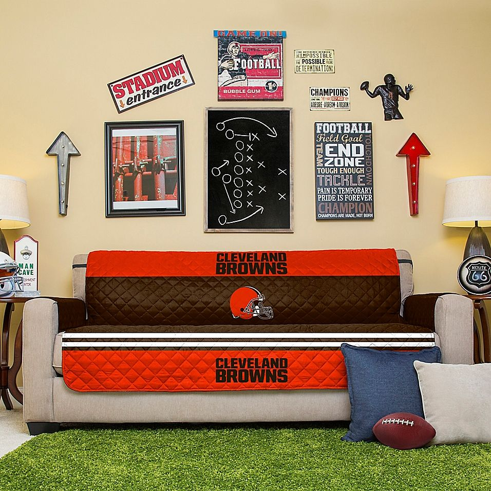 Nfl Cleveland Browns Sofa Cover Multi Quilted Sofa Sofa Covers Brown Sofa