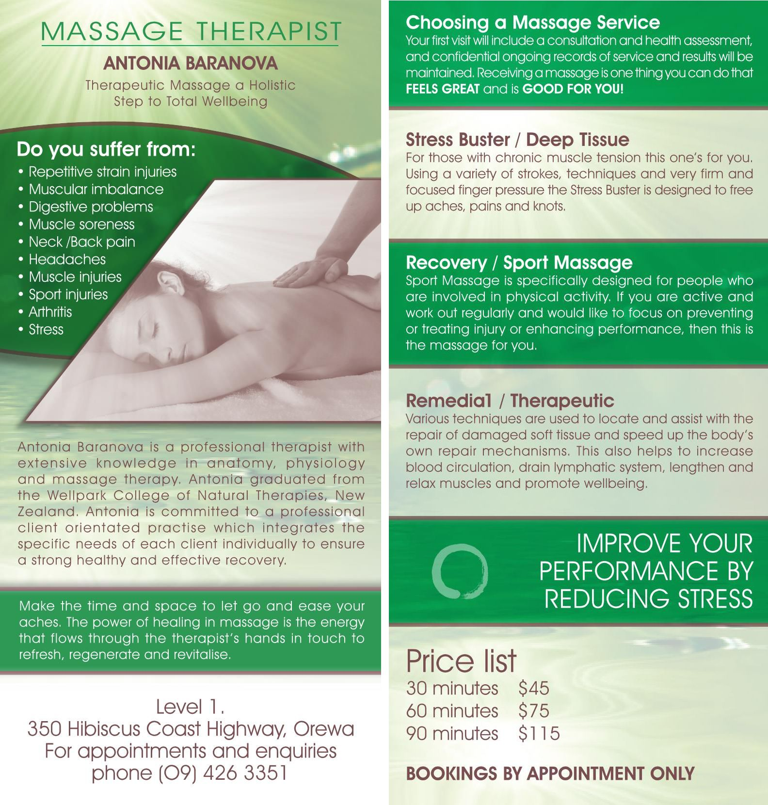 my new rack cards from vistaprint massage therapy