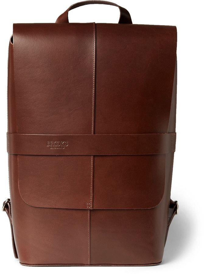 5c8042390f $370, Brown Leather Backpack: Brooks England Piccadilly Leather Backpack.  Sold by MR PORTER