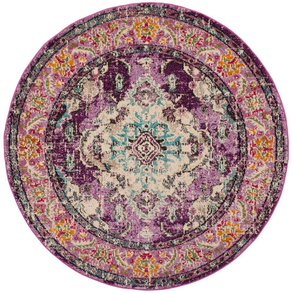 Safavieh Monaco Violet Light Blue 7 Ft X 7 Ft Round Area Rug