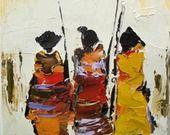Massais 1 : Peinture figurative : peinture à l'huile au couteau ... : Peintures par les-reves-de-minsy