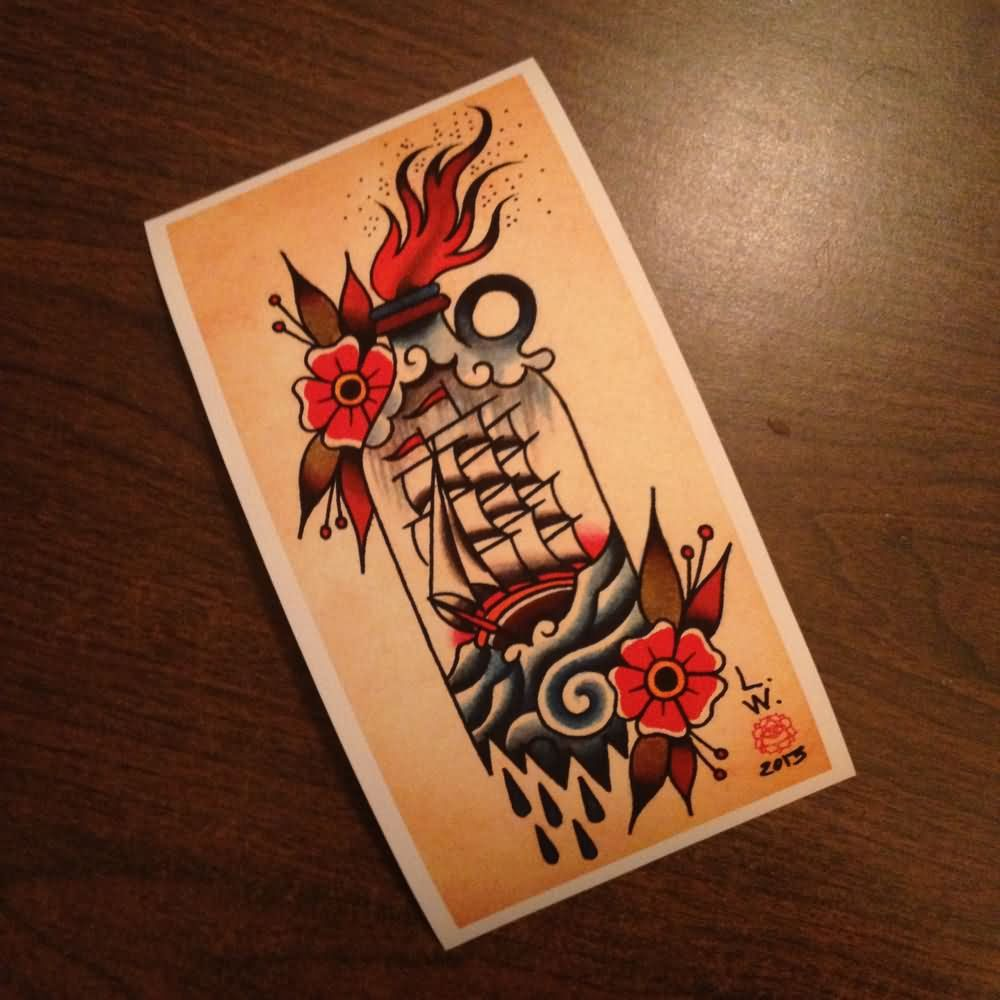 traditional-flowers-and-ship-bottle-tattoo-design.jpg 1,000×1,000 pixels