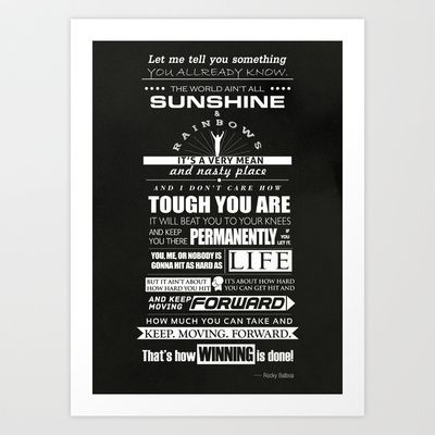 Motivational Poster Rocky Balboa Speech Art Print By