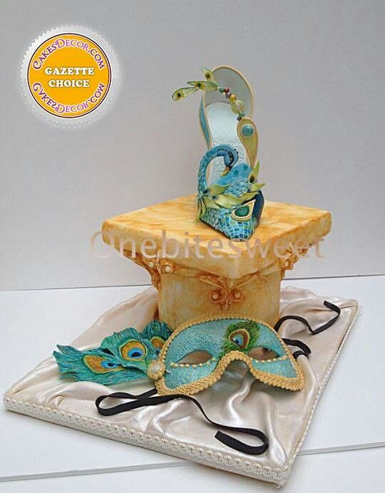 Peacock Mask Shoe Cake by Onebite Sweet