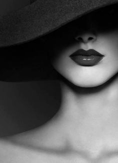 Black Hat Red Lips Black And White Photography Portrait
