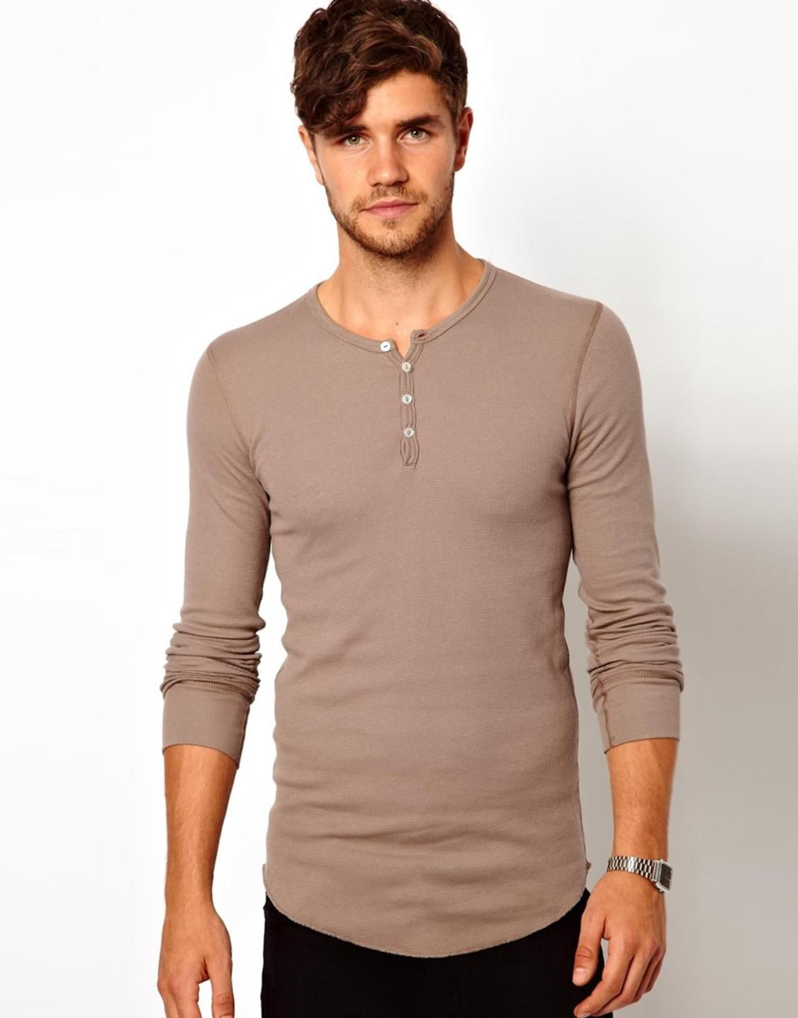 This is an example of a henley shirt, which is a collarless ...