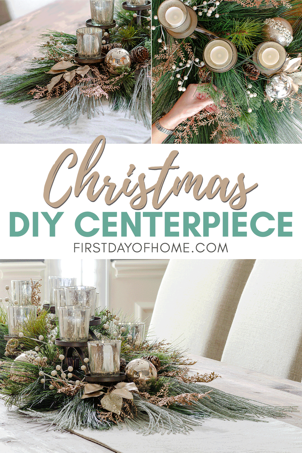 How To Make A Mercury Glass Holiday Centerpiece That Pops Christmas Centerpieces Diy Holiday Centerpieces Holiday Centerpieces Diy