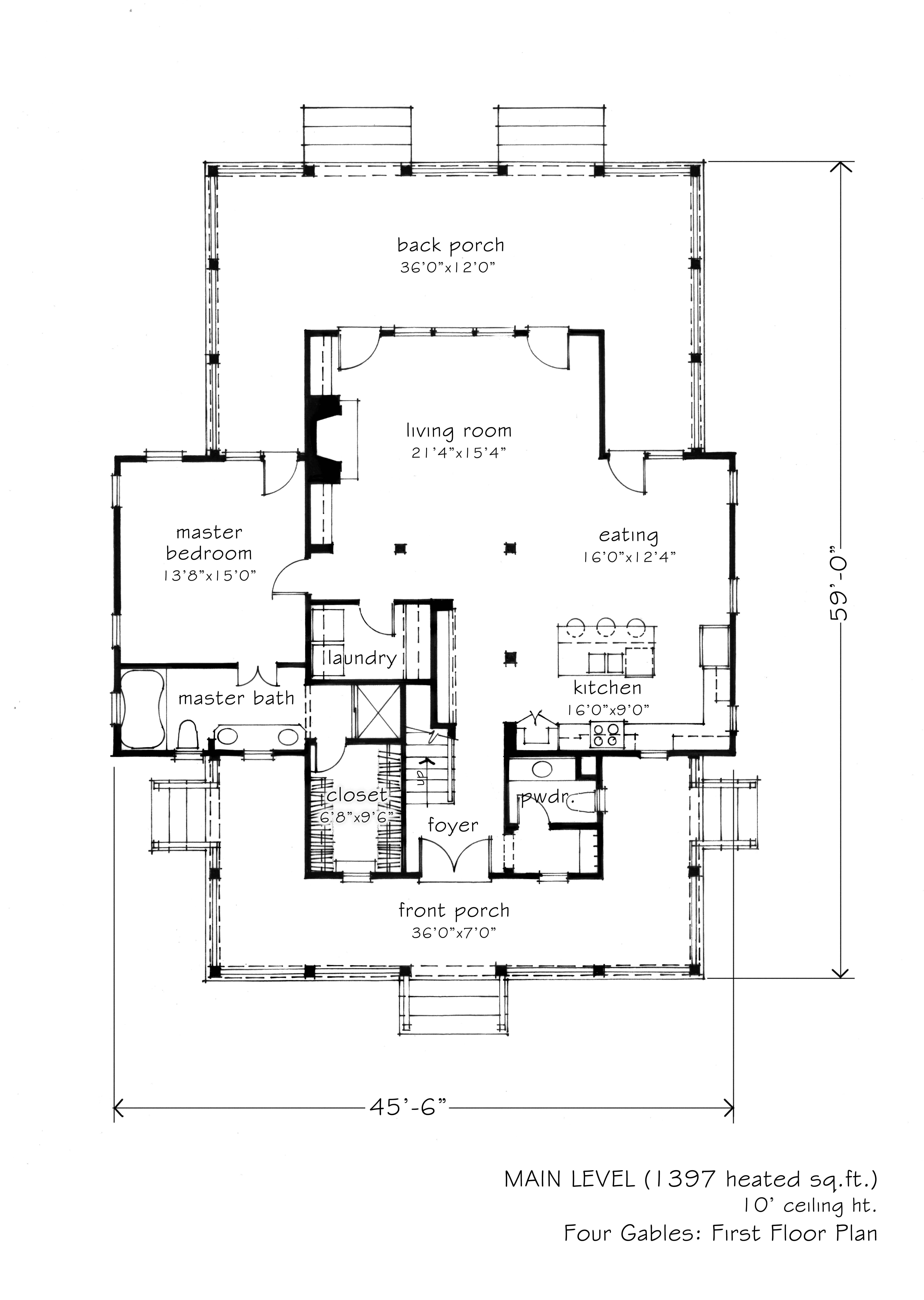 Four Gables Small Farmhouse Plans Gable House Cottage Floor Plans