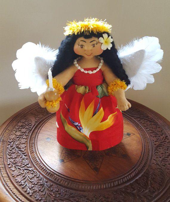 "Hawaiian Christmas Tree Topper: Angel Tree Topper, Hawaiian Ooak 10"" Art Doll: Pali, Angel"