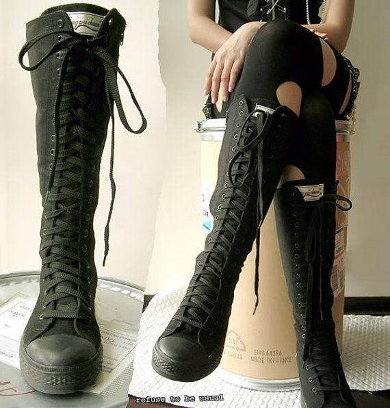 b984e2ab52f2 20 Hole Punk Rock Men Women Canvas Laceup Knee Hi Mono Black Sneaker Flat  Boot