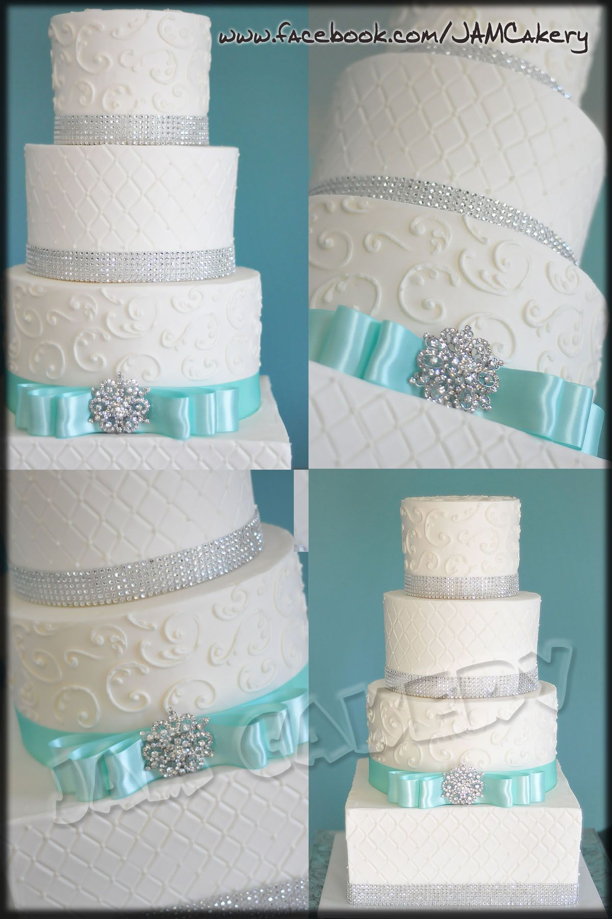 Turquoise and Sparkle Wedding Cake. Love the detail. I want a brighter turquoise though.