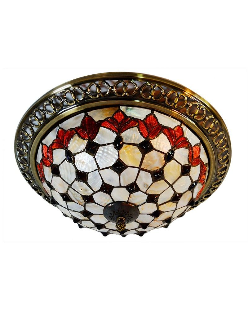 Decorative 3 light stained glass flush mount ceiling light stained decorative 3 light stained glass flush mount ceiling light aloadofball Image collections