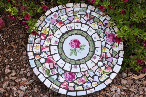 mosaic slate round stepping stone with vintage china and stained