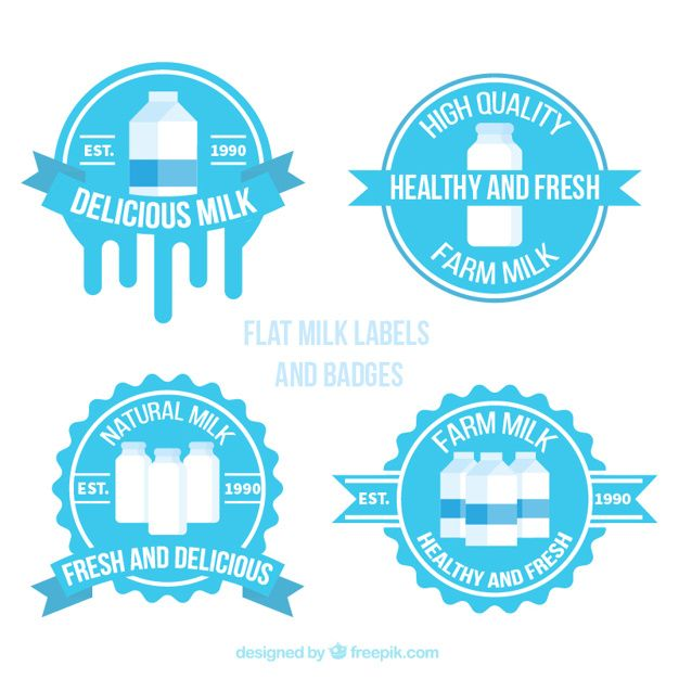 Collection of round milk stickers #Free #Vector #Label #Design