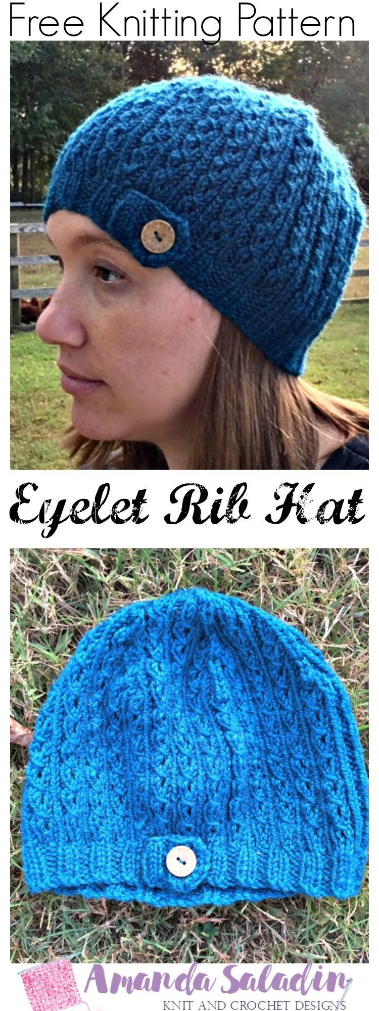 Eyelet Rib Knit Hat - Free Knitting Pattern | Knit hats, Free ...
