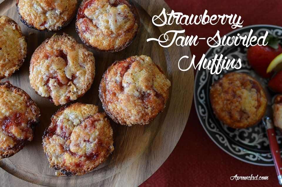 Jam Chronicles: Strawberry Jam-Swirled Muffins | Muffins with twice the strawberry flavor: from both fresh fruit and a strawberry jam swirl