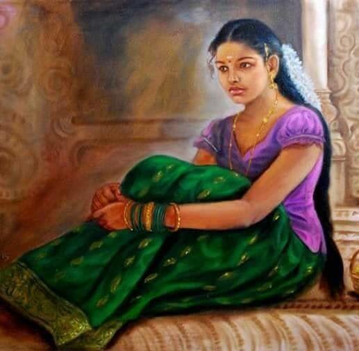 Village beautiful girl painting - 181.5KB