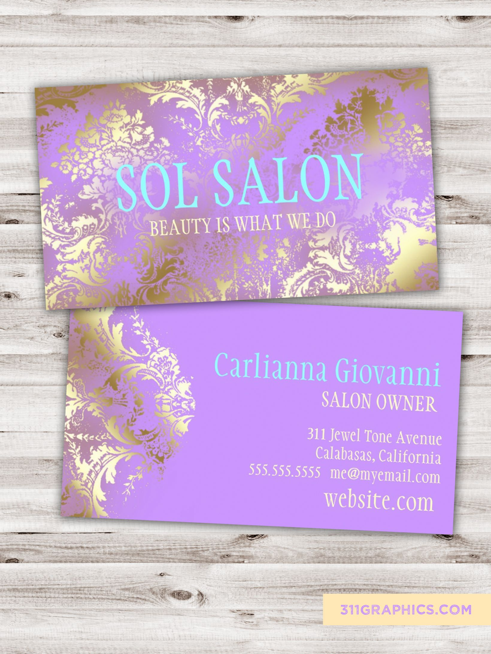 lilac, gold and blue business cards, chic, salon, spa, business ...