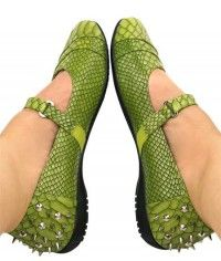 Green Dragon Junior - Womens lime green snake and python studded mary jane flats shoes