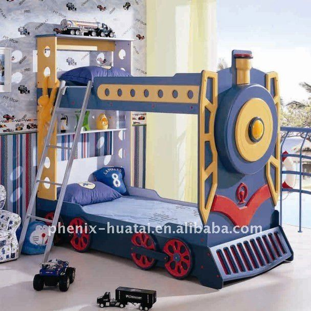 Bunk beds for toddler boys kids train bunk bed photo detailed about kids train bunk bed for Toddler train bedroom