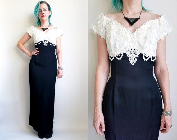 HOLD for ANNA BLUME 90s Clothes / Vintage Prom Dress Black White Off ...