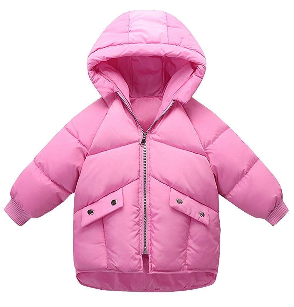 Unisex Kids Down Jacket Hooded Zipper Up Winter Puffer Long Coat 3 7t Deep Pink Cr18ingloet Down Jacket Girls Jackets Kids Unisex Kids [ 1046 x 1001 Pixel ]