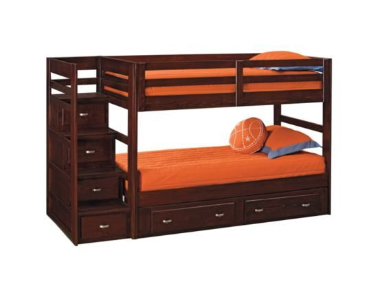 Varsity Bunkbed With Stairs Storage Value City Furniture