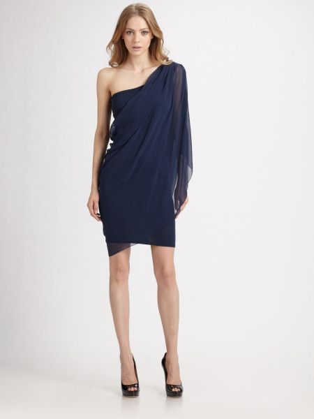 navy blue one shoulder dress - Dress Yp