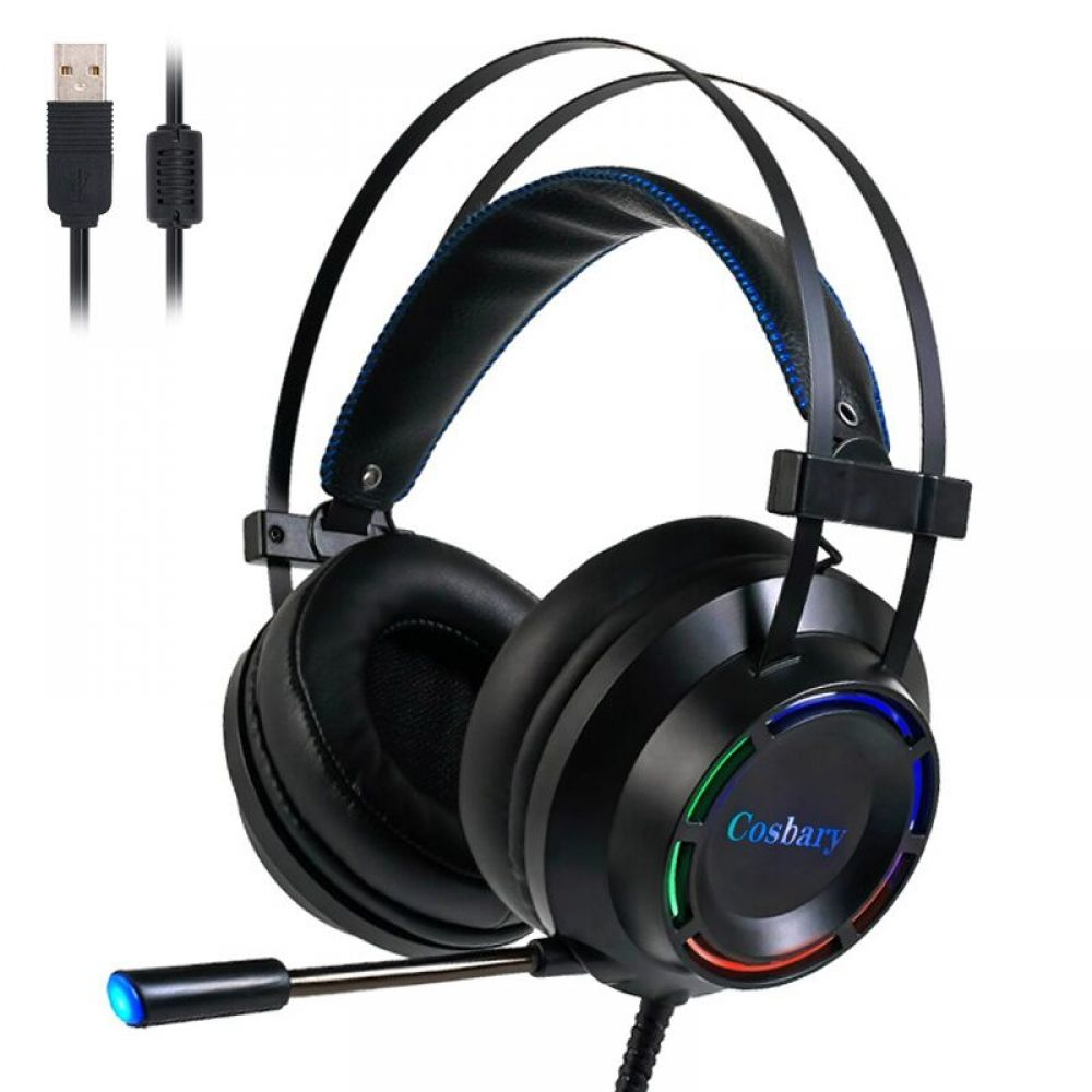 Cosbary Gaming Headset With Microphone Usb Wired Earphone 7 1 Surround Sound Game Headphone For P Gaming Headset Headphones With Microphone Headset
