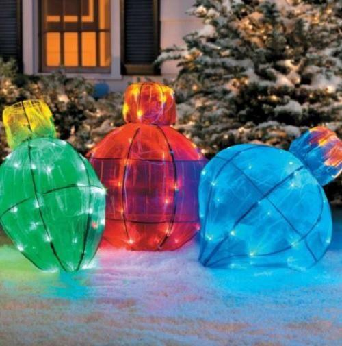 3 Giant Large Christmas Lights Collapsible Ornaments Balls Bulbs Yard Lawn Set