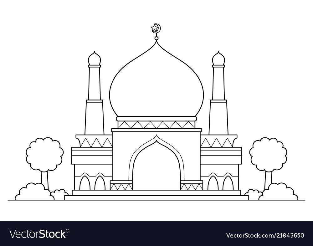 Mosque Cartoon Vector Image On ภาพวาด ม สย ด การเข ยน
