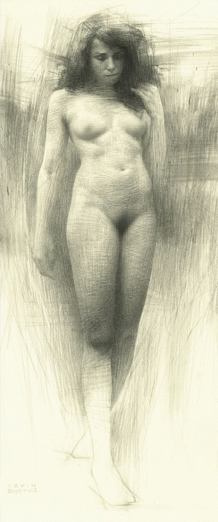 Study for wanderer by irvin rodríguez standing nude female pencil drawing 2015 irvinrodriguez com