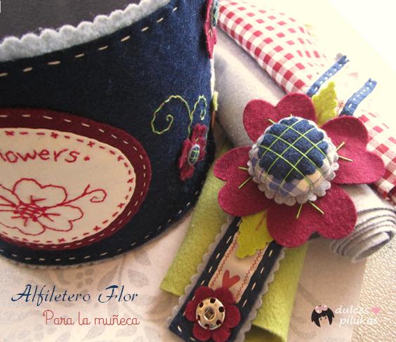 Cesta costura y alfiletero Love Flowers. Fieltro patch
