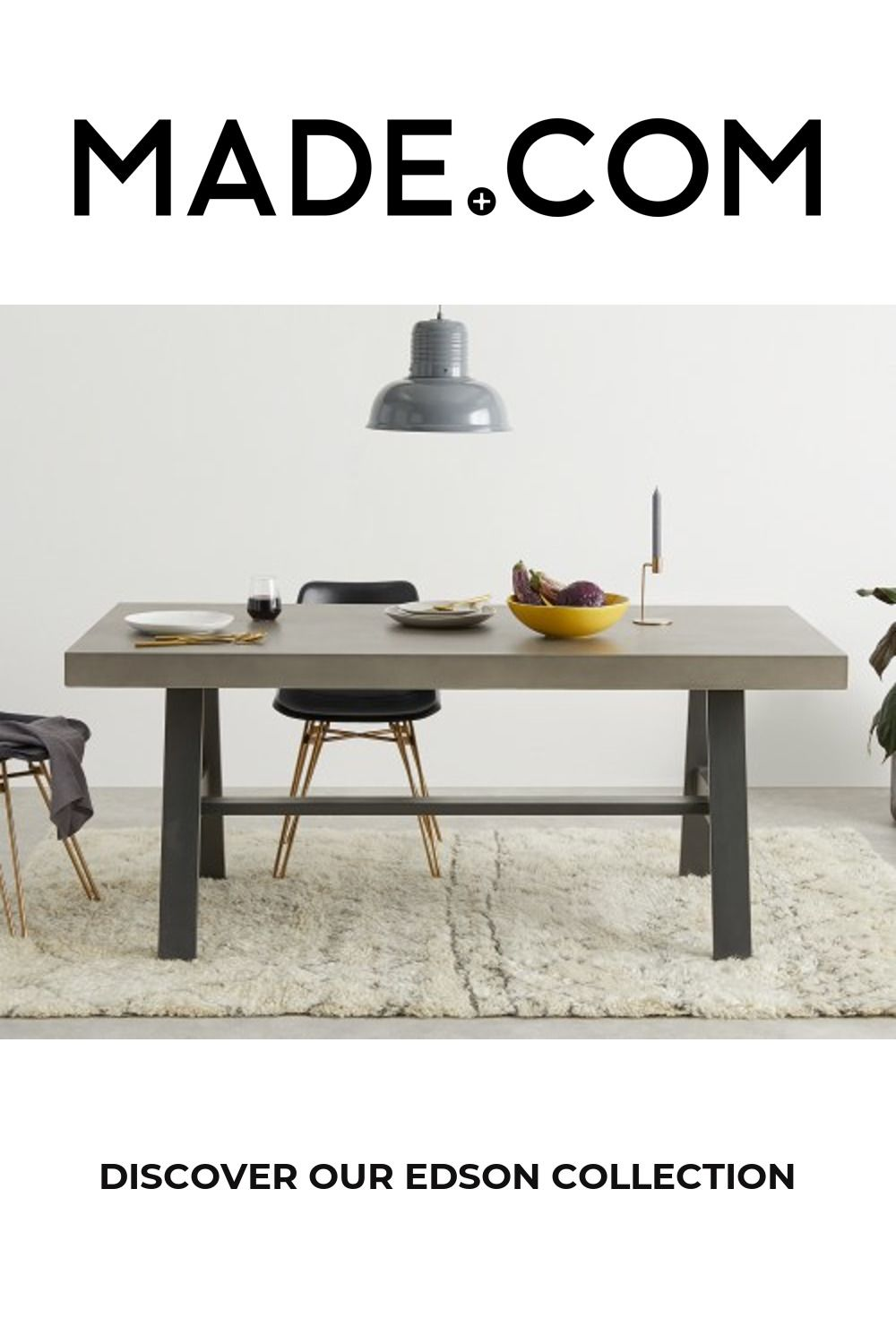Edson Garden Dining Table, Cement and Metal