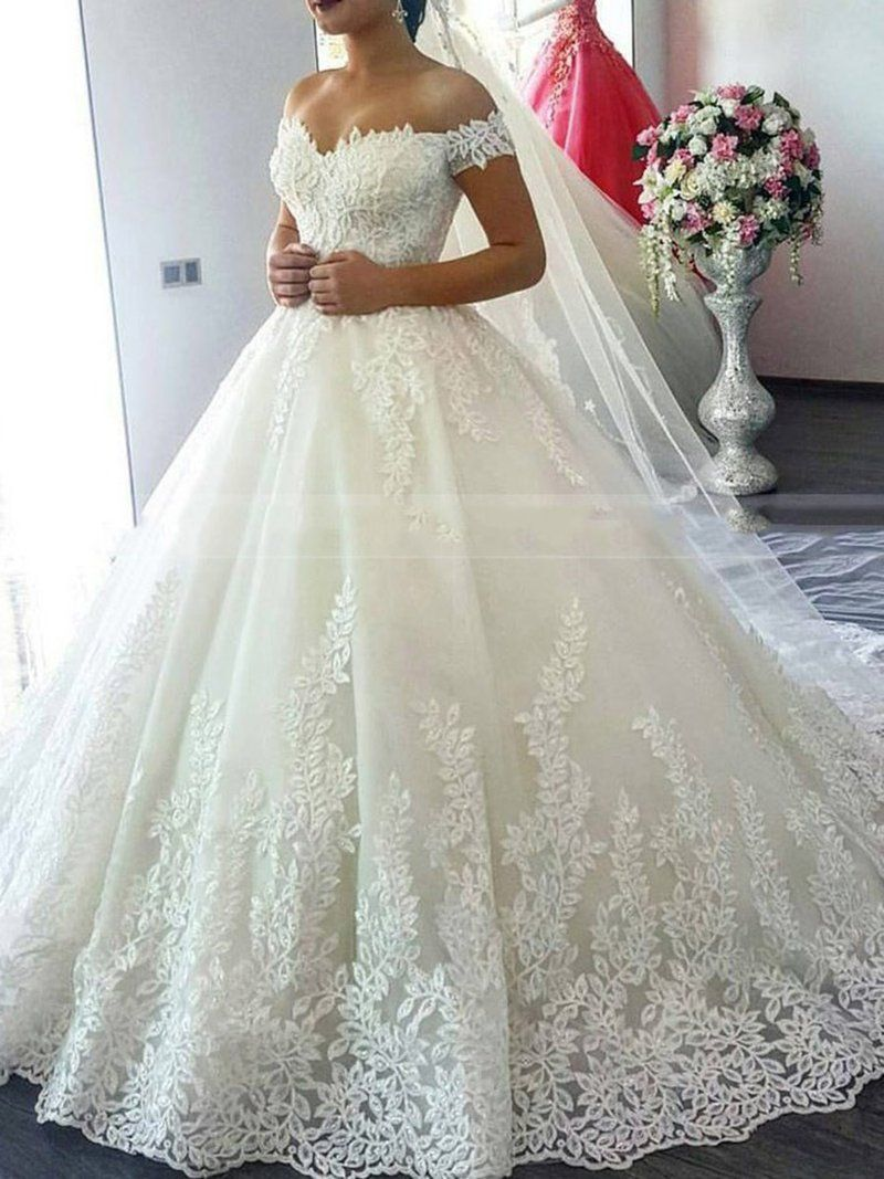 Appliques Cap Sleeves V-Neck Chapel Church Wedding Dress