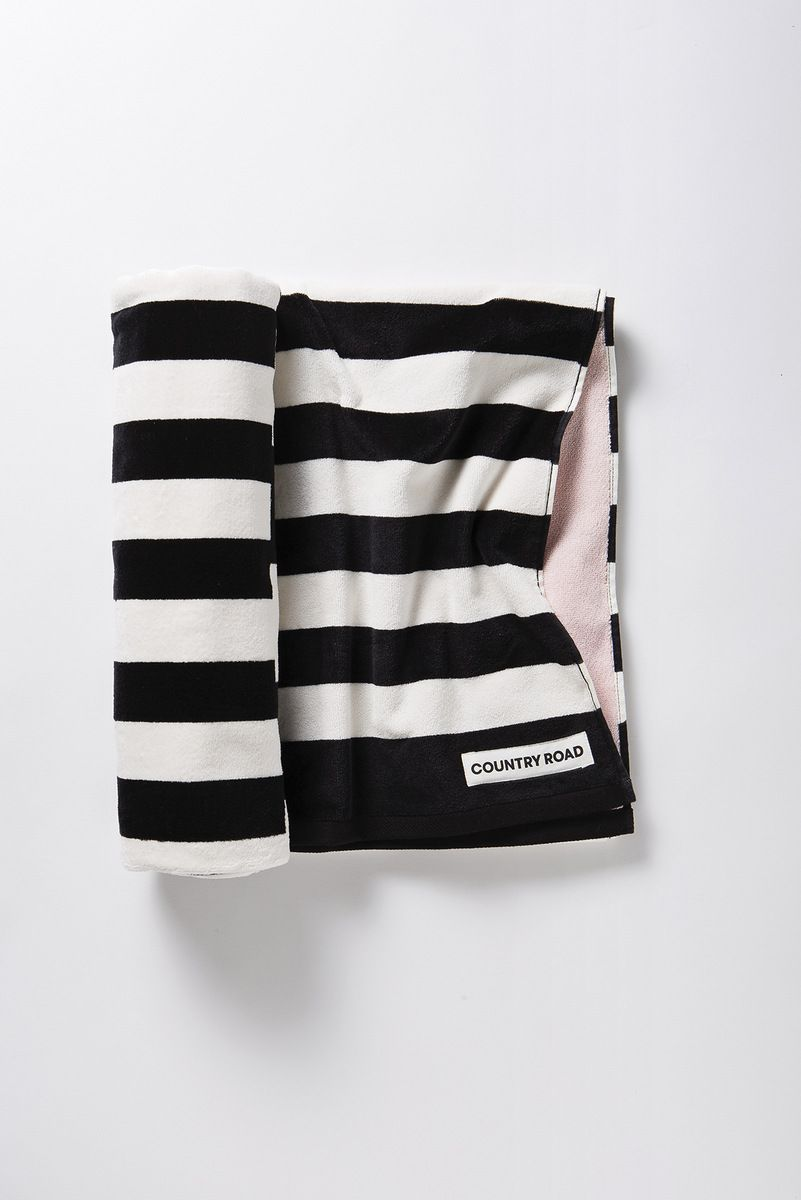 A Minimalist And Stylish Beach Towel With Monochrome Stripes And A Contrast Colour Reverse With Images Beach Towel Contrasting Colors Color Reversed
