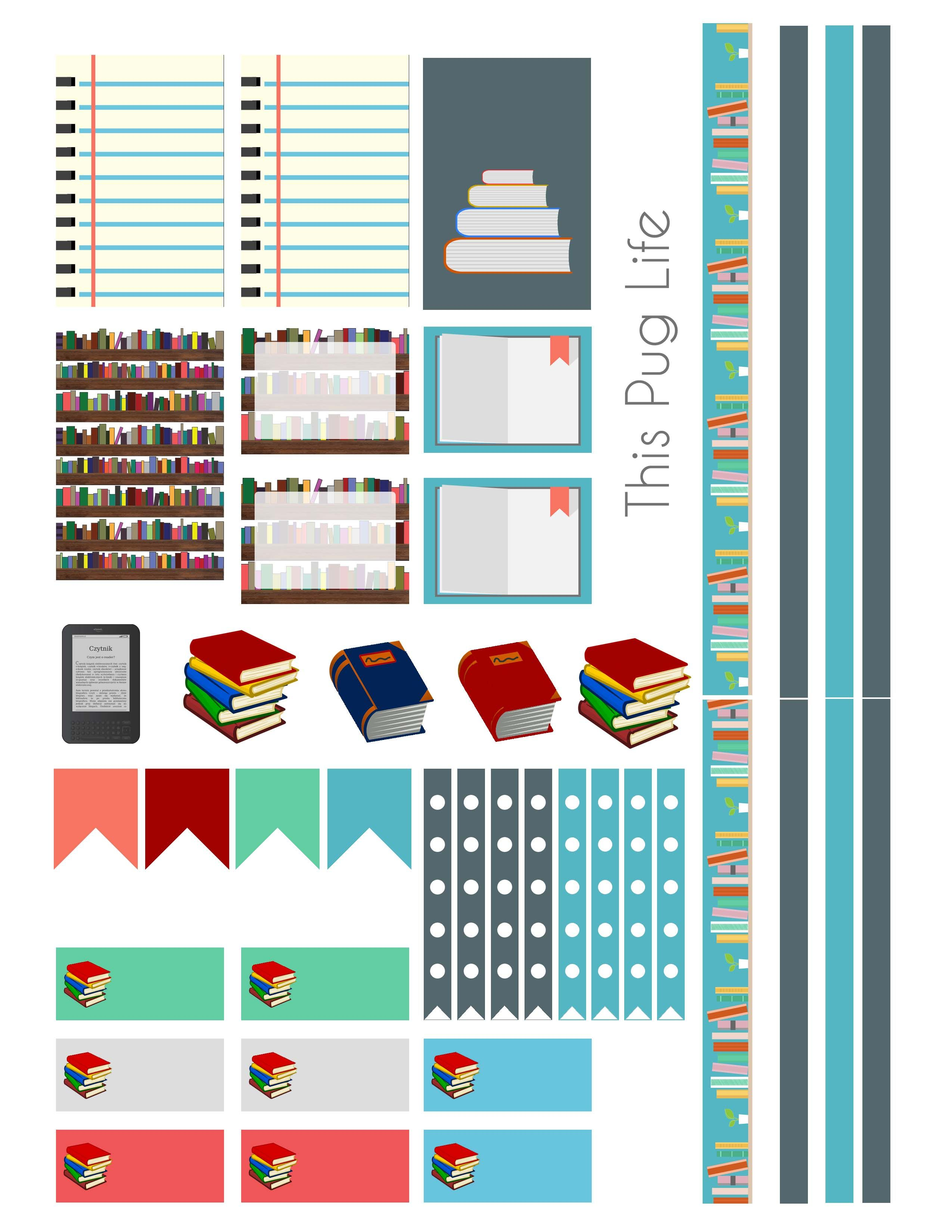 Library book planner sticker set free printable