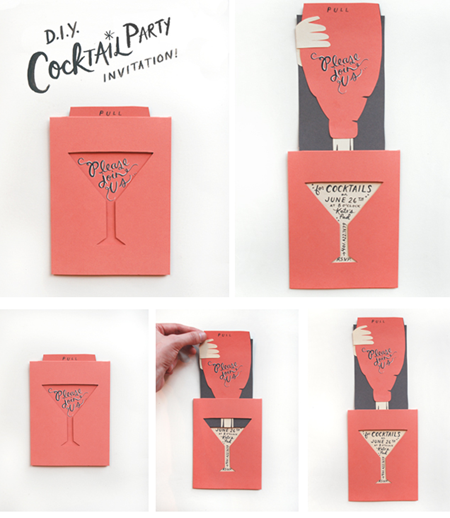 Clever die cut invitation for cocktail party Design Pinspirations