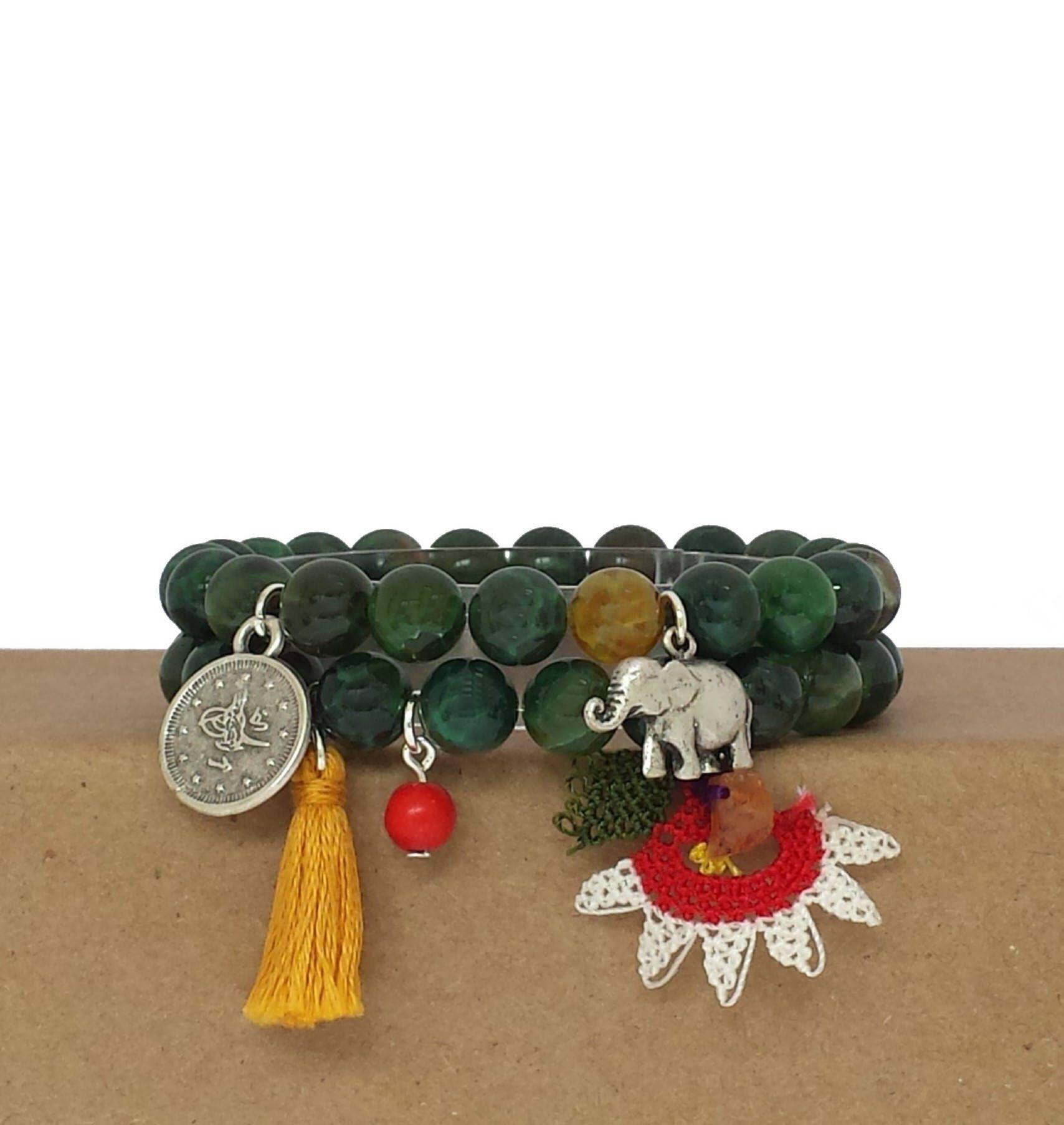 Beaded gemstone bracelet beaded bracelet green agate beaded