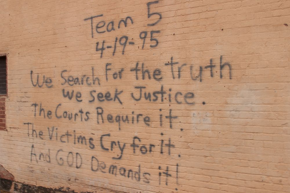 This message is spray painted on the wall of the records