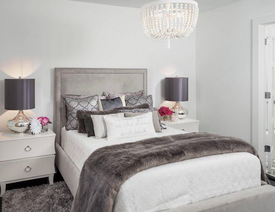 Beautiful romantic bedroom in white and grey tones. # ...