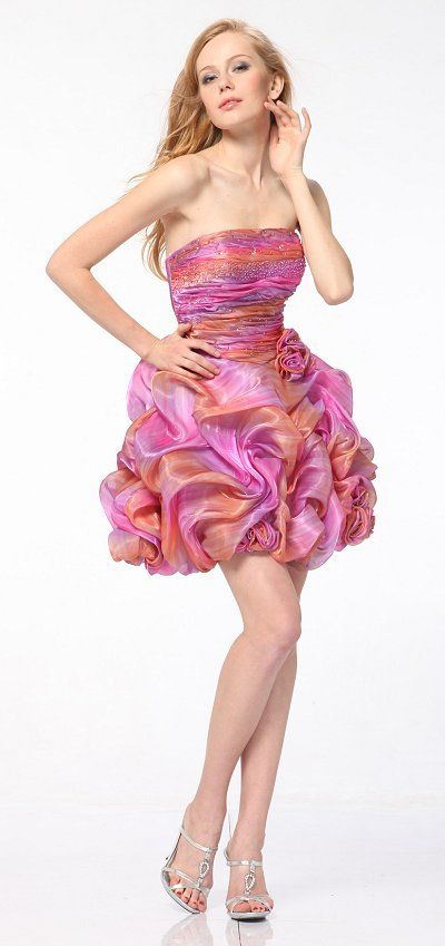 Hot Pink Short Prom Dress Strapless Rhinestone Sprinkle Floral ...